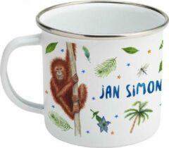 Beige Mies To Go Emaille mok met naam - leeuwtje aapjes - Gepersonaliseerde drinkbeker - kraamcadeau - Dieren in aquarel - geschilderd door Mies