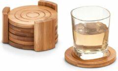 Bruine 6x Bamboe houten glazenonderzetters 10 cm - Zeller - Keukenbenodigdheden - Tafeldecoratie - Glas/beker onderzetters van hout