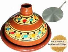 Bruine Marocstore.nl Voordeelpakket aardewerk tajine set, inductie adapter + 190 gr kruiden