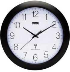 Balance Time Zendergestuurde Wandklok - Klok - Rond - Kunstof - Ø30 cm - Zwart/Wit