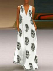 Newchic Bohemian Maxi Print Sleeveless V Neck Dress