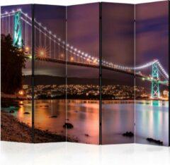 Paarse Kamerscherm - Scheidingswand - Vouwscherm - Glow Above the City II [Room Dividers] 225x172 - Artgeist Vouwscherm