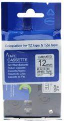 Rillstab Brother labeltape wit - zwart 12mm