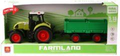 Basic Wenyi Farmland Tractor + Aanhanger met Licht en Geluid 1:16 Groen