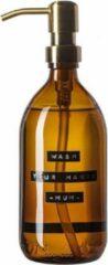 Wellmark Handzeep bruin glas messing pomp 500ml tekst WASH YOUR HANDS-MUM- 8720165018031