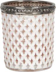 Clayre & Eef Glazen Theelichthouder 6GL2880 Ø 5*6 cm Wit Glas Rond Waxinelichthouder Windlichthouder