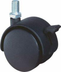Klusgereedschapshop Meubelzwenkwiel 40mm zwart kunststof met rem en verzinkte draadstift t40kg m8x16