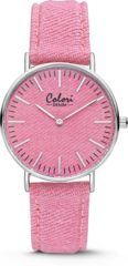 Colori Denim 5 COL420 Horloge - Denim Band - Ø 36 mm - Roze