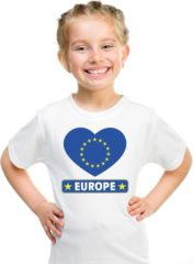 Shoppartners Europa kinder t-shirt met Europese vlag in hart wit jongens en meisjes XS (110-116)
