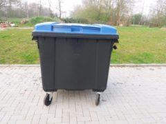 Blauwe Sulo 4 wiel container 1100 liter