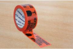 Verpakkingstape Raadhuis 50mx66m oranje breekbaar 3 rol