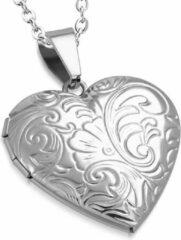 Zilveren Montebello Ketting Arinda - Dames - 316L Staal PVC - Hart - Medaillon - ∅30 mm - 50 cm