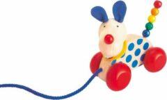 Naturelkleurige Selecta Spielzeug Selecta Trekfiguur Hond Nico 12 Cm Hout Naturel/blauw