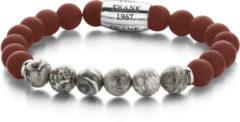 Rode Frank 1967 7FB-0083 - Rekarmband - stalen bead - Agaat en Jaspis 8 mm - one-size - rood / grijs / zilverkleurig