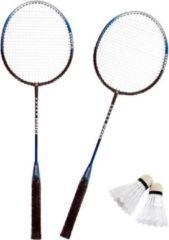 Merkloos / Sans marque Badmintonset zilver/blauw met rackets shuttles en opbergtas 66 cm - voordelige badminton set