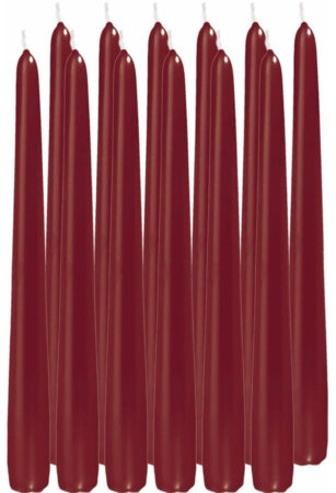Afbeelding van Trend Candles 12x Bordeauxrode dinerkaarsen 25 cm 8 branduren - Geurloze kaarsen - Tafelkaarsen/kandelaarkaarsen