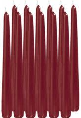 Trend Candles 12x Bordeauxrode dinerkaarsen 25 cm 8 branduren - Geurloze kaarsen - Tafelkaarsen/kandelaarkaarsen