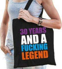Bellatio Decorations 30 year legend / 30 jaar legende cadeau tas zwart voor dames cadeau katoenen tas zwart voor dames - kado tas / tasje / shopper