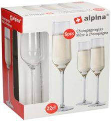 Transparante Merkloos / Sans marque Champagneglas / glazen 6x stuks 22 centiliter - Feest / party champagneglazen set
