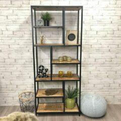 Bruine Livin24 Industriële boekenkast Mats mango hout 80 x 188 cm