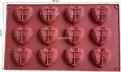 Bruine Talbistore.nl Mini harten 12 – chocolade – diamanten – 3D heart – bakvorm – bonbons – mold – bakvormen - Suikerfeest - Eid mubarak