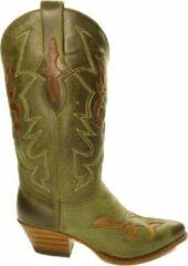 Bruine Sendra boots Sendra 12289 Lia Groen Handgemaakte Dames Ibiza Western Laarzen Hoge Hak Ronde Spitse Neus Treklussen Gebogen Bovenkant Schacht Echt Leer