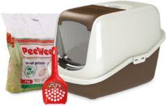 PeeWee EcoHus Startpakket - Kattenbak - Bruin - 56 x 39 x 38.5 cm