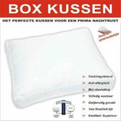 Witte NoLizzz BOX Kussen | tijk 100% katoen Perkaal | Bolletjesvezels | 50x60 /10cm