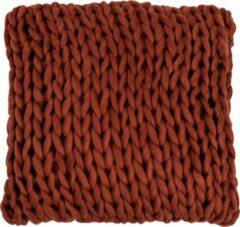 J-Line Kussen Gebreid Vierkant Acryl Rood