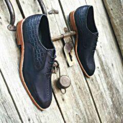Pantera Pelle Leather Shoes Handgemaakt uniek design volledig lederen Herenschoen donkerblauw maat 43