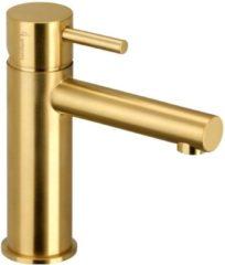 Wastafelmengkraan Herzbach Design IX PVD-Coating met 5/4'' Clickwaste Messing Goud