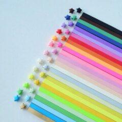 Merkloos / Sans marque Papierstroken in 27 kleuren - 1023 stuks - 1CM x 24CM - Vlechtstroken - Origami Papier voor sterren
