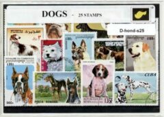 Transparante KLOMP G.T.P Honden - postzegelpakket cadeau met 25 verschillende postzegels
