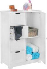 Wohnling Design Badschrank LUIS Landhaus-Stil MDF-Holz 56 x 83 x 30 cm weiß Badezimmerschrank klein 4 Schubladen & 1 Tür Beistellschrank Mehrzwecksc