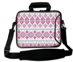 Roze Sleevy 15.6 Laptoptas / laptophoes met voorvak artistiek patroon - slanke laptoptas - dunne laptoptas - heren laptoptas - dames laptoptas