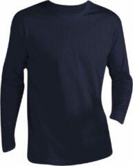 Marineblauwe SOLS Heren Monarch T-Shirt met lange mouwen (Marine)