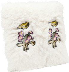 Paarse Kare Kussen Bloemen Vogel