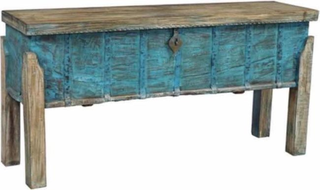 Afbeelding van Blauwe Fine Asianliving Indian Console Table Storage Handcrafted Wood 42x158x80cm Handmade in India Chinese Meubels Oosterse Kast