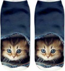 Blauwe Merkloos / Sans marque Dames Sneakersok Cats, Kitty Maat 36/39