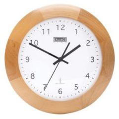 Grijze Balance Radio-Controlled Wall Clock 32 cm Analogue Brown/White