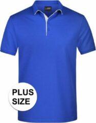 James & Nicholson Grote maten polo shirt Golf Pro premium blauw/wit voor heren - Blauwe plus size herenkleding - Werk/zakelijke polo t-shirts 3XL