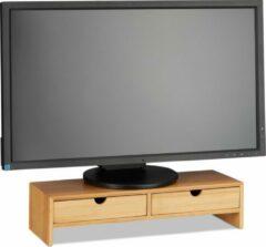 Bruine Relaxdays Monitorstandaard - beeldschermverhoger - verhoger monitor - 2 lades - bamboe