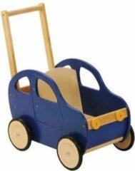 Playwood - Houten Duwwagen Auto Blauw - Duwauto - Loopwagen - Duwkar