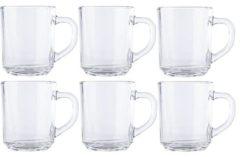 Transparante Merkloos / Sans marque 6x Theeglazen/koffieglazen 250 ml - 25 cl - Glazen voor thee en koffie 6 stuks