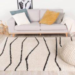 Creme witte Fraai Hoogpolig vloerkleed - Grand Wire Creme/Zwart 120x170cm