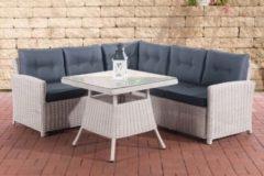 CLP Polyrattan-Gartengarnitur SIERRA Sitzecke mit dazugehörigem Esstisch und Sitzkissen In 25 verschiedenen Farbkombinationen erhältlich