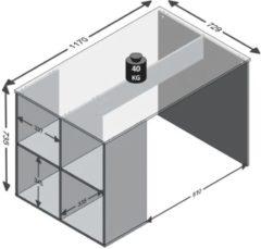 VidaXL Bureau met zijschappen 117x72,9x73,5 cm wit