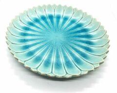 DeSfeerbrenger Bord - Presenteerbord - Presenteerschaal - Handgemaakt en geschilderd - Turquoise - 26 cm (2 stuks)