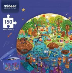 MiDeer - Ronde Puzzels - 150 puzzelstukjes in mooie Geschenkdoos - Dag in het bos - 35+ verschillende dieren - Kleurrijk - Dierenwereld - Puzzel voor kinderen vanaf 5 jaar