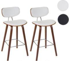 Heute-wohnen 2x Barhocker HWC-C32, Barstuhl Tresenhocker, Retro-Design Holz Bugholz Walnuss-Optik